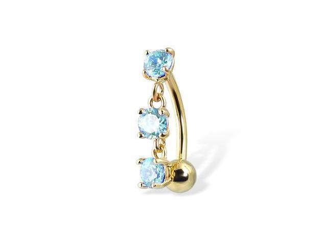 14K solid yellow gold reversed  belly button ring with three gems