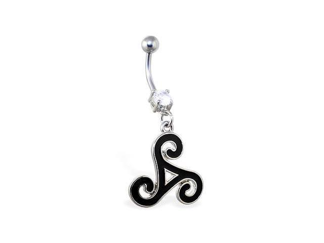 Navel ring with dangling tribal symbol