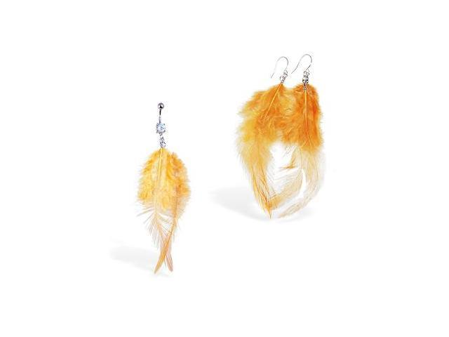 Burnt Orange Feather Belly Ring and Earring Set