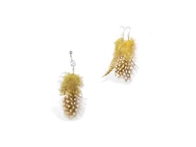 Yellow Polka dot Feather Belly Ring and Earring Set