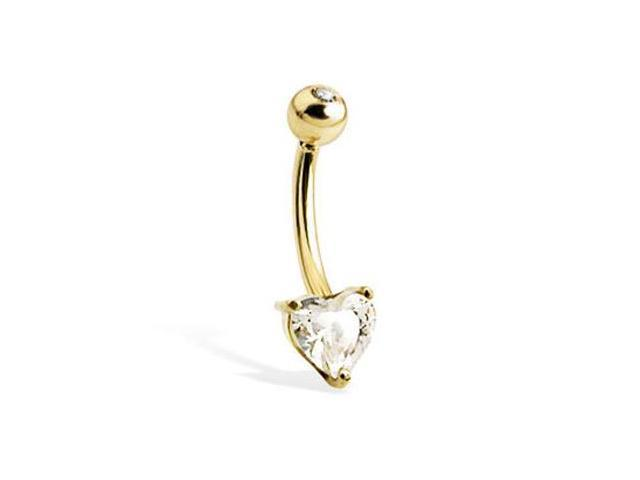 14K solid yellow gold belly button ring with heart-shaped stone and jeweled top ball