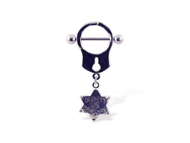 Handcuff nipple ring with dangling star