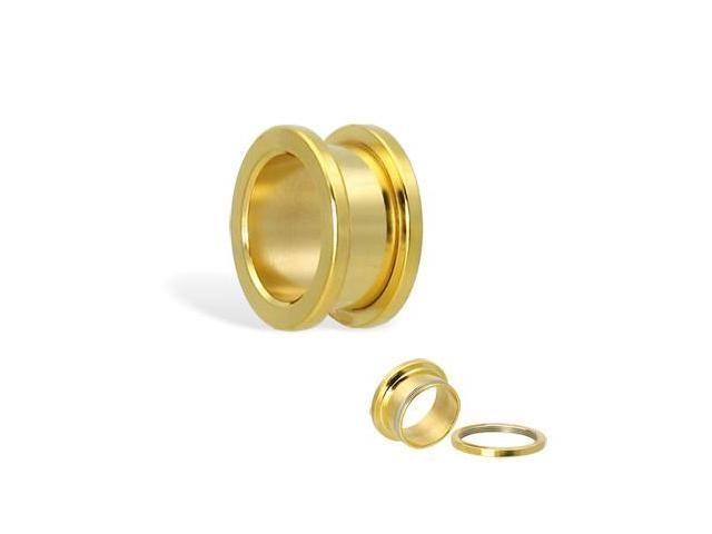 14K gold plated tunnel with threaded back, 11/16
