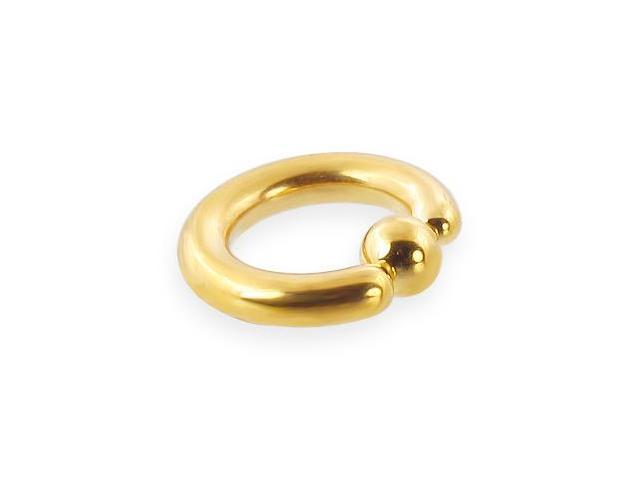 14k gold plated captive bead, 6 ga