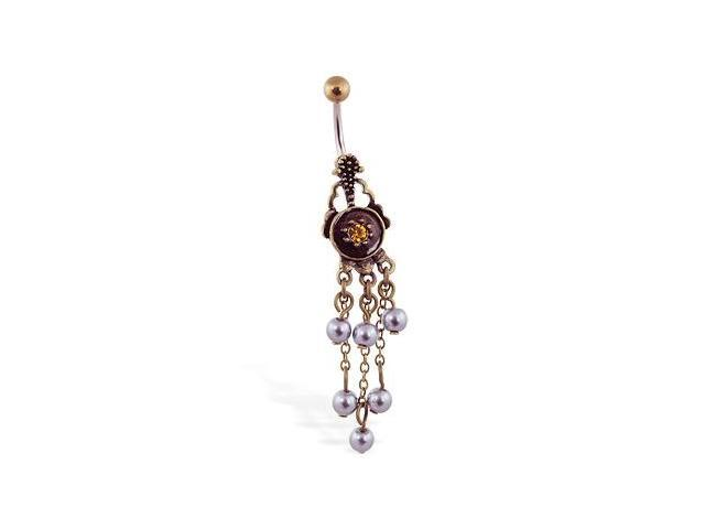Vintage shield navel ring with dangling freshwater pearls