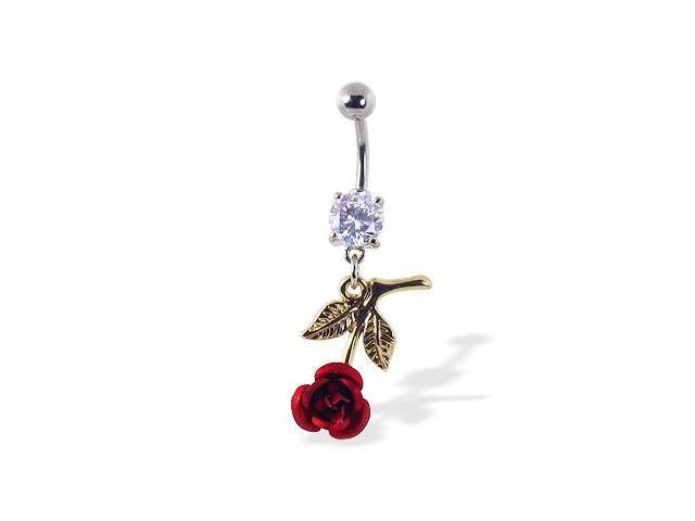 Navel ring with dangling upside down yellow rose