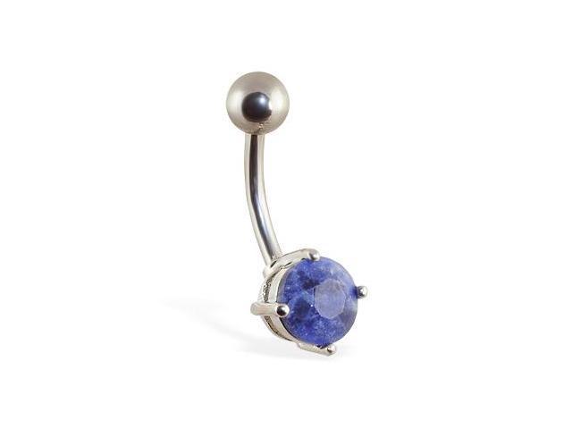 Navel ring with Lapis Lazuli stone