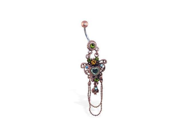 Jeweled vintage belly ring with heart chandelier dangle