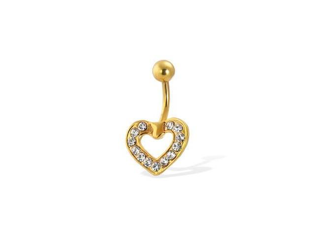 14K gold plated belly button ring with CZ-paved heart