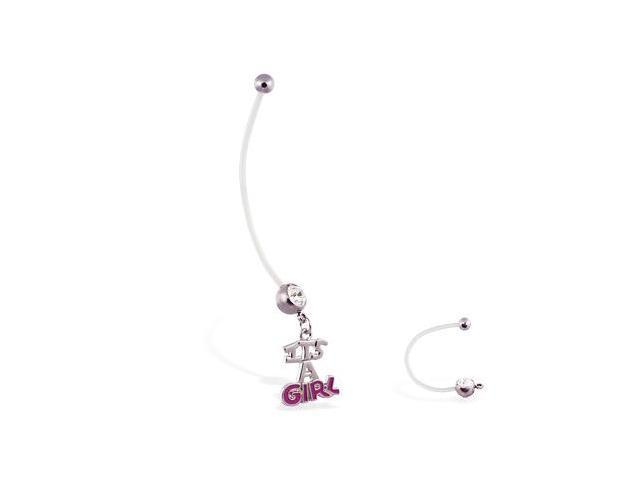 "Super long flexible bioplast belly ring with dangling ""ITS A GIRL"""