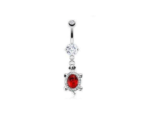Jeweled belly ring with dangling jeweled turtle with large red gem
