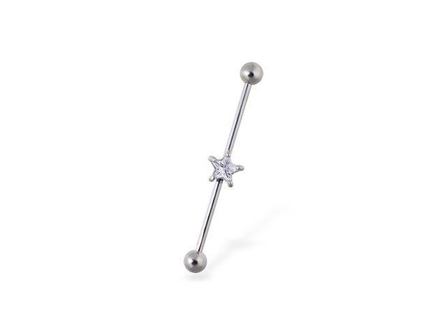 Industrial straight barbell with jeweled star, 14 ga