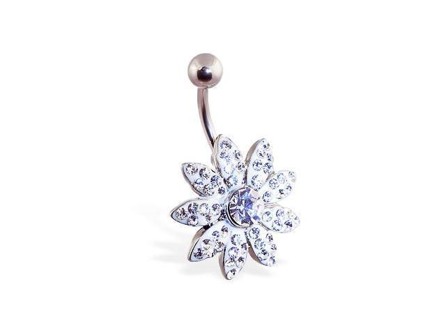Large white jeweled paved flower belly ring