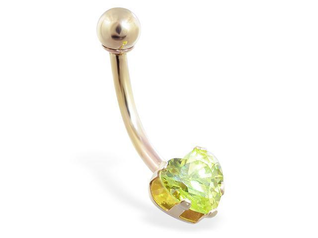 14K solid gold belly ring with peridot 6mm CZ heart