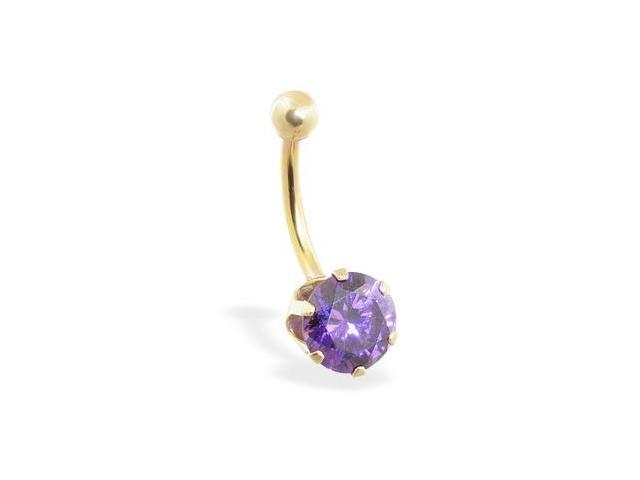 14K solid gold belly ring with large 8mm purple CZ