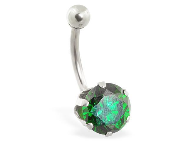 14K solid white gold belly ring with large 8mm emerald CZ