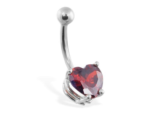 14K solid white gold belly ring with ruby red 8mm CZ heart