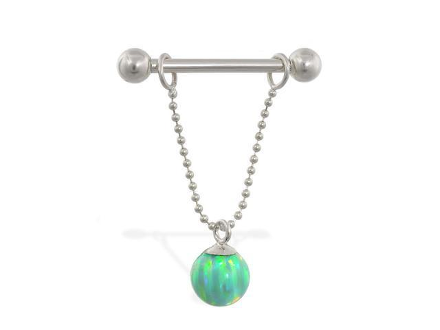 14K solid white gold nipple ring with dangling green opal ball on chain, 14 ga