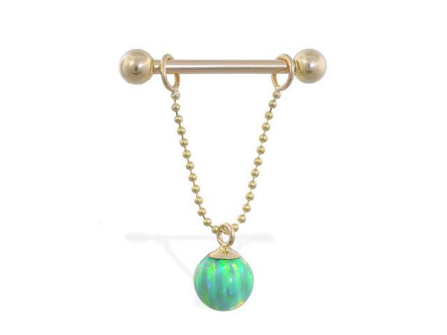 14K solid gold nipple ring with dangling green opal ball on chain, 14 ga