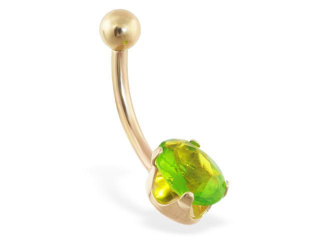 14K solid gold belly ring with peridot oval CZ