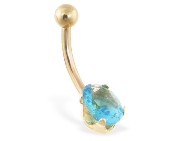 14K solid gold belly ring with aquamarine oval CZ