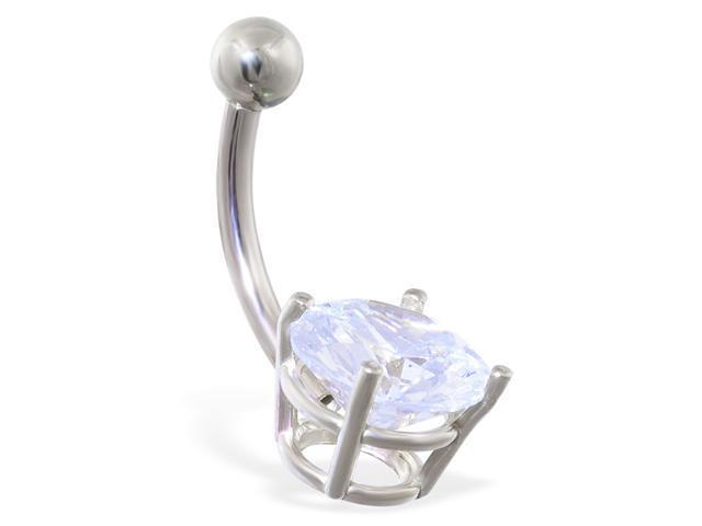 14K solid white gold belly ring with large 8mm clear CZ