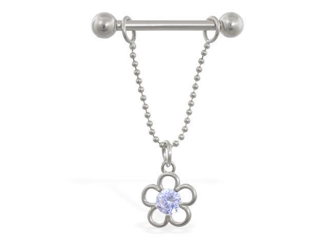 14K solid white gold nipple ring with dangling jeweled flower, 14ga