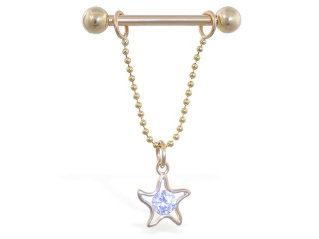 14K solid gold nipple ring with dangling star on chain, 14 ga