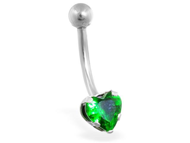 14K solid white gold belly ring with emerald 6mm CZ heart