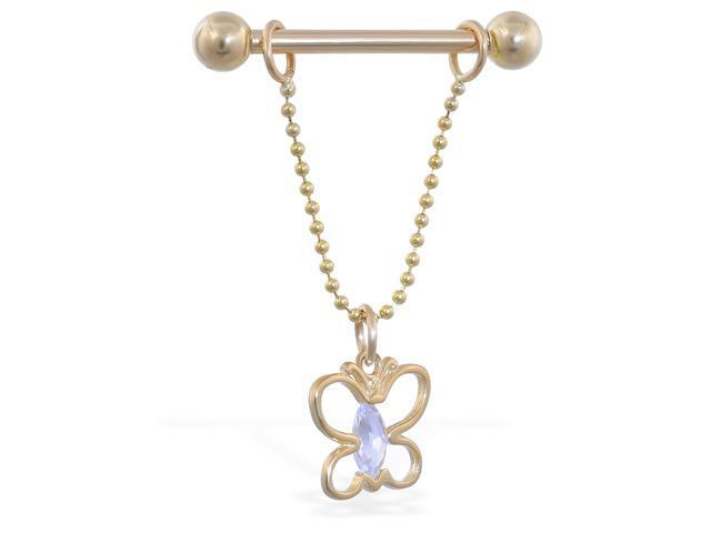 14K solid gold nipple ring with dangling jeweled butterfly on chain, 14 ga