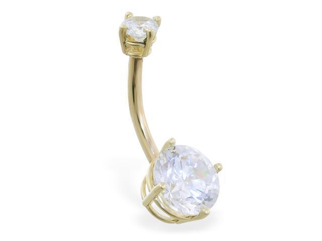14K solid gold double jeweled clear CZ belly ring