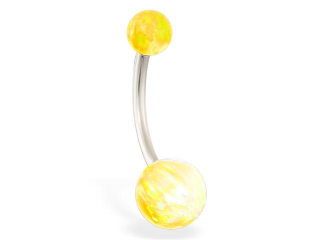 14K solid white gold Gorgeous Yellow Opal Belly Ring