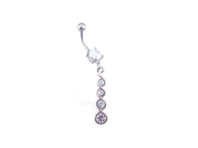 Jeweled navel ring with multi-jeweled twister dangle,Color:Steel Color - B