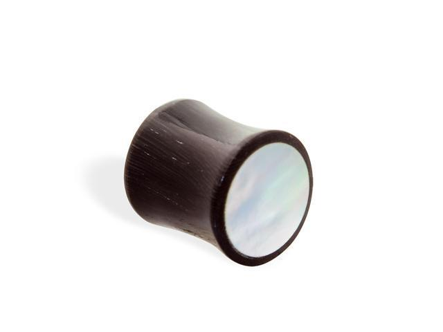 Organic horn plug with mother of pearl inlay,Gauge:7/16