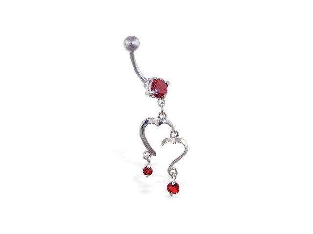 Navel ring with double heart dangle and gems,Color:red - E