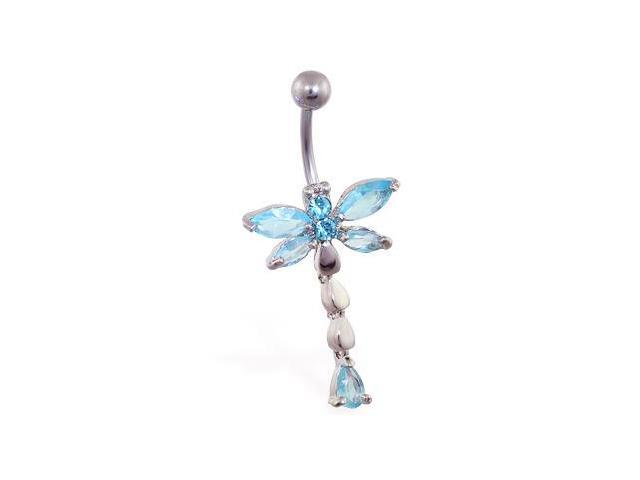 Jeweled dragonfly belly ring with teardrop dangle,Color:aquamarine  - B