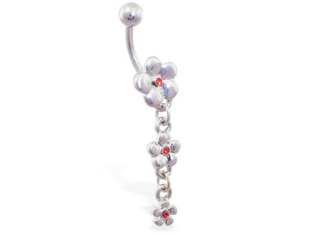 Triple jeweled flower dangling belly ring,Color:red