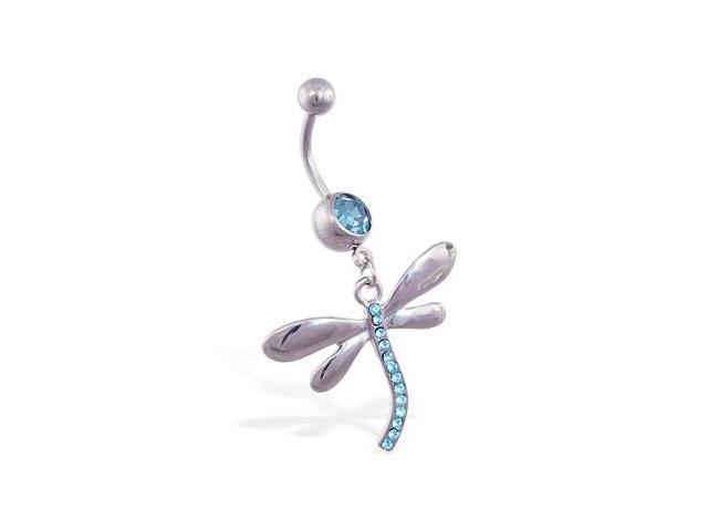 Navel ring with large dangling jeweled dragonfly,Color:aquamarine  - B