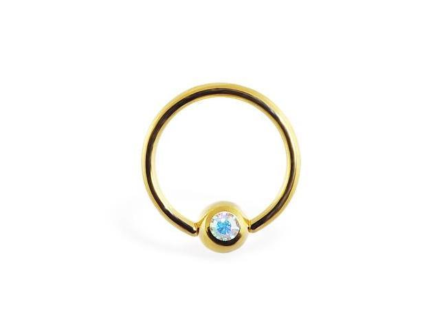 14K gold plated captive bead ring with gem, 16 ga,Color:AB - A