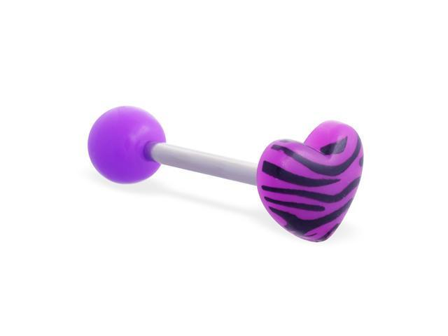 Straight barbell with acrylic ball and tiger print heart top, 14 ga,Color:purple