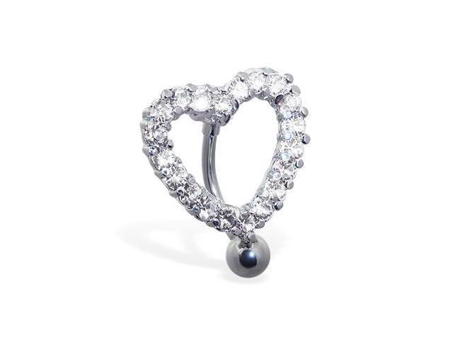 Reversed jeweled heart belly ring,Color:clear - B