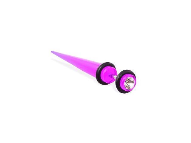 Fake UV acrylic taper with gem, 16 ga,Color:purple