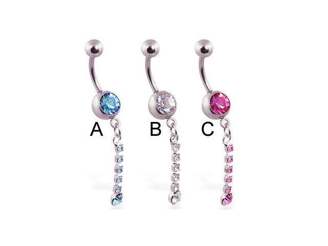 Jeweled belly ring with single jeweled dangle,Color:pink - C