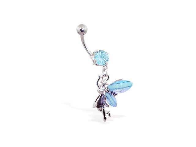 Navel ring with dangling jeweled fairy,Color:aquamarine