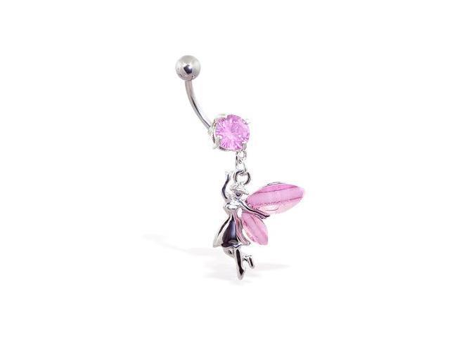Navel ring with dangling jeweled fairy,Color:pink
