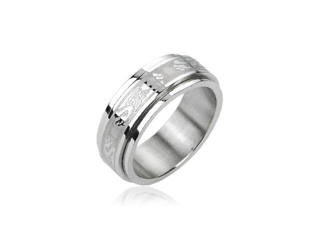 316L Stainless Steel Double Dragon Center Spinner Ring,Ring Size - 9