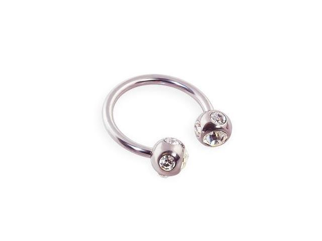 Stainless steel circular (horseshoe) barbell with multi-jeweled balls, 16 ga,Color:clear - C