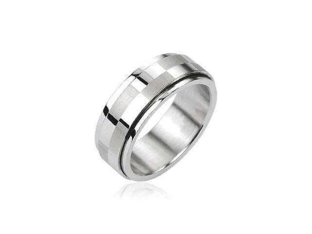316L Stainless Steel Big Checker Center Spinner Ring,Ring Size - 12