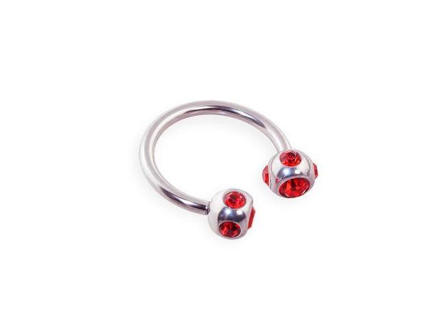 Stainless steel circular (horseshoe) barbell with multi-jeweled balls, 16 ga,Color:red - F