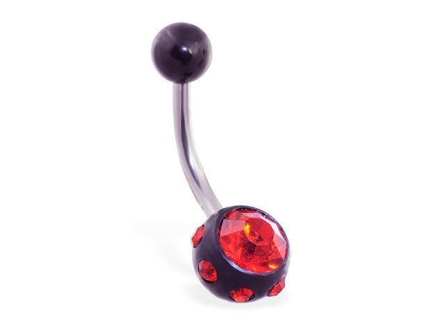 Belly ring with multi studded CZ ball,Color:red - D